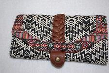 "Womens Wallet WHITE BLACK TRIBAL PRINT Brown Braid ORGANIZER Tri-Fold 6.5x 3.5"""