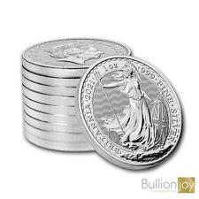 10 x 2021 Silver Britannia 1 oz Silver Bullion Coins in Rimless Coin Capsules