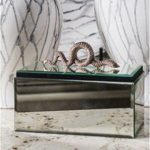 NIB (L'objet Inspired) Gold Snake Serpent Mirror Decorative Box