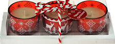 Set Of 3 Red Nordic Scandinavian Christmas Tree Candles In Gift Box