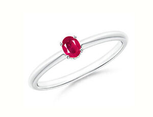 14KT White Gold & 1.60Ct Oval Shape 100% Natural Burmese Red Ruby Solitaire Ring