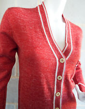 Gilet Vintage 60/70 TAMAGRA Made In France Acrylique et Lin Couleur Rouille