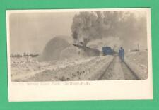 VINTAGE PHOTO POSTCARD ROTARY SNOW PLOW NYC-HUDSON RIVER TRAIN LINE CARTHAGE, NY