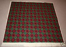 1960s Vintage Tapestry Wool Handmade Cross-Stitch 150cmx150cm Red/Green Diamonds