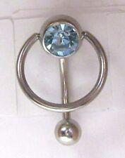 Surgical Steel Light Blue Dangle Crystal VCH Clitoral Clit Hood Ring 14 gauge