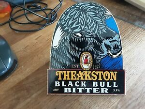 THeakston Black Bull bitter metal beer Pump Sign with fittings