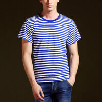 Men Women Sailor Striped Short Sleeve T-shirt Top Tee Shirt Unisex Classic Basic