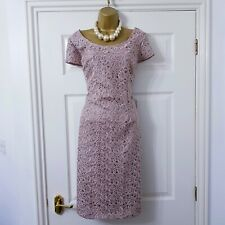 Monsoon Dress UK 16 Dusky Pink Lace Wedding Party Races Evening Cruise Occasion