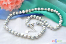 """P4402 18"""" 8mm gray baroque freshwater pearl necklace"""