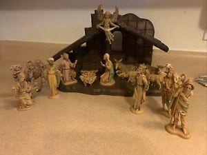 "Vintage 15 piece With Manger Fontanini Depose Italy Nativity Set 5"""