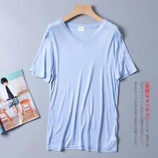Men's 100% Pure Silk Knit T-Shirts Casual Short Sleeve V Neck Sleepwear SG203