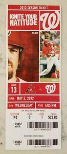 Washington Nationals Arizona Baseball Full Ticket 5/2 2012 Harper 1st Run Stub