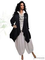 PoCo LAGENLOOK Long Shirt Jacke schwarz L-XL-XXL-XXXL 44 46 48 50 52 54 56 58