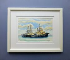 "Original Framed Watercolour Line and Wash ""The Geraldton Tugs"""