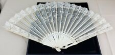 Vintage Off White Lace Fabric Filigreed Handpaint Floral Flowers Sequin Hand Fan
