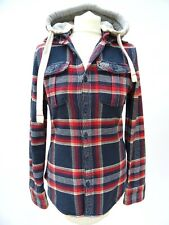 Ladies SUPERDRY Navy Thick Lumberjack Check Hoodie Shirt Jacket Size Small #3971