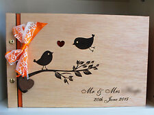wood guest book laser engraved A4 ribbon personalized, wood wedding photo album