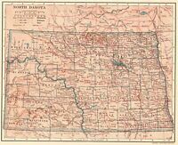 1906 Antique NORTH DAKOTA State Map Original Vintage Map of North Dakota 7870