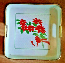 Christmas Square Plastic Candy Dish Tray Poinsettia White Gold Trim Vintage