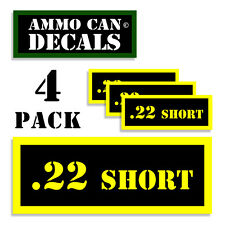 22 SHORT Ammo Can Label 4x Ammunition Case stickers decals 4 pack YW MINI 1.5in