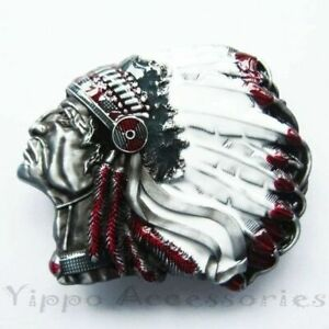 American Native Indian Chief Color Feather Western Metal Fashion Belt Buckle