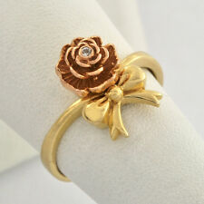 Vintage 14K Gold Ring Rose and Bow Motif Accent Natural Diamond For Young Ladies