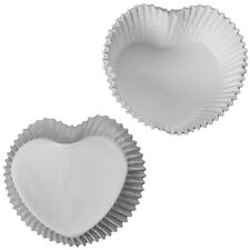 White Heart Shaped Cupcake Cases Valentines Love Baking