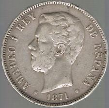 ESPAGNE - MONNAIE ARGENT - AMADEO I - 5 PESETAS 1871 (75)