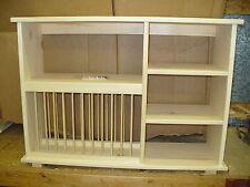 NEW Triple shelf wood plate dish rack glasses spices organizer kitchen cabinet
