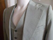 vtg 70's 2 pc Polyester CENTURY CLUB Houndstooth Sport Coat Blazer VEST 37R Grn