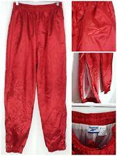 Reebok Vtg Rare Red Crinkle Nylon Windbreaker Pants Men Shiny Silky Elastic Sz M