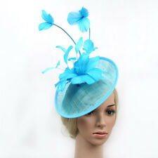 TURQUOISE SINAMAY FASCINATOR WITH MATCHING FEATHERS/HEADBAND SPRING RACING