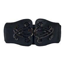 eVogues Plus Size Wide Elastic Cinch Fashion Belt Black