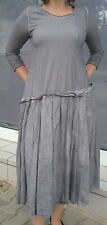 Langes Kleid Rundholz Gr.M grau washed look 3/4 Arm Taschen  neu mit Fehler!