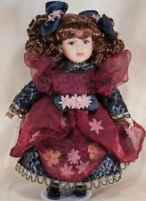 """Collectible Memories Adriana 15"""" Porcelain Doll Brown Hair Brown Eyes With Stand"""