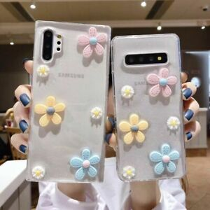 For Samsung galaxy S20+ S10+ note10 8 9 Cute 3D Glitter Clear flowers phone case