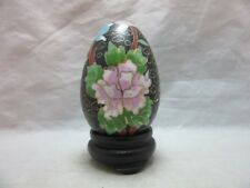 Chinese Cloisonne enamel egg & display stand. Black. Flowers
