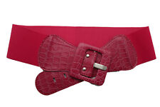 Cute Women Fashion Elastic Belt Pink Stretch Waistband Square Buckle Plus M L XL