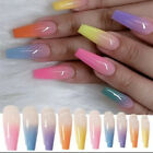 Rainbow Ombre Long Coffin Press On Nails Fake False 24 Pc Nail Set Kit