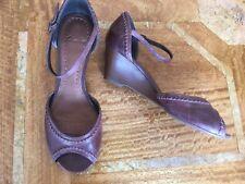 Clarks Chestnut Brown Leather Wedge Sandals UK 5.5 D
