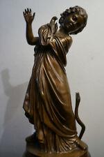 Jugendstil Salon Bronze Figur Mädchen Vogel Schlange Nell Roma um 1900