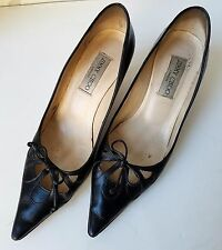 JImmy Choo Black Leather Women KITTEN Heel Shoes Pumps Size 38 1/2