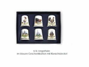 6X Fingerhut- Harzmotive- Porcelain IN Geschenkebox