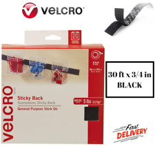Sticky Back Tape - Hook & Loop Fasteners 30 ft x 3/4 in Velcro Waterproof -Black