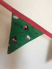 Festive Handmade Christmas BUNTING Double Sided 2m Robins & Puddings Green (62)