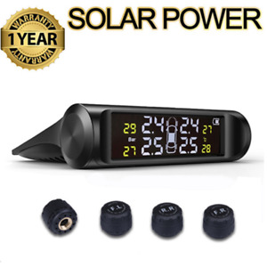 Wireless Solar LCD Car SUV TPMS Tire Tyre Pressure Monitor System + 4 Sensor