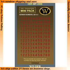 Wilder 1/35 Dry Transfer - WWII German Numbers for Vehicles Set 6.1 (Red,190mm)