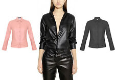 Ladies Celeb Long Sleeves Top Collared Blouse Faux Leather Shirt 8-14