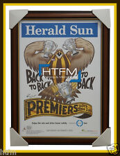 Hawthorn 2015 Premiers Herald Sun Poster Framed Mitchell Hodge Rioli Mark Knight