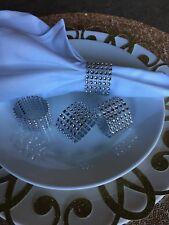 10 diamond crystar Rhinestone napking rings wedding party holder mesh silver